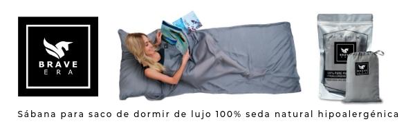 Sábana para saco de dormir de lujo 100% seda natural hipoalergénica