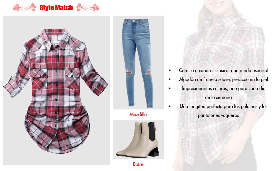 Matchstick Camisas de Mujer Blusa de Franela #B003(2021 Checks#1,Medium)