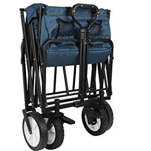 Homfa Carro Playa Plegable Carro para Jardín Carro de Transporte con 4 Ruedas y Frenos 90x52x57.5cm (Azul Oscuro)