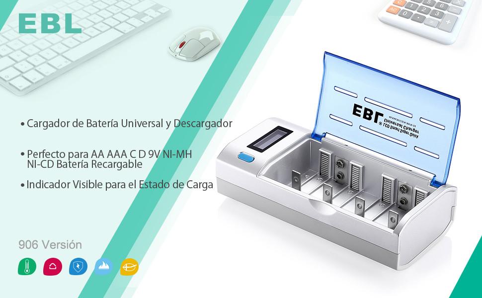 EBL 906 Universal Cargador de Pila para AA AAA CD 9V NI-MH NI-CD Batería Recargable con Pantalla LCD y Funciones de Descarga
