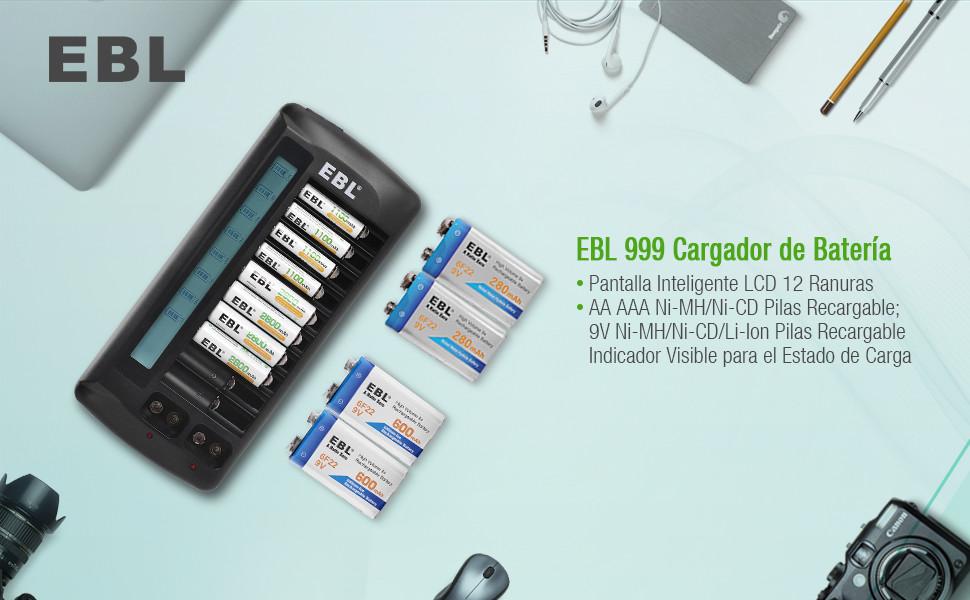 EBL 999 Cargador de Pilas con 12 Ranuras LCD para AA AAA Ni-MH Ni-CD Pila Recargable y 9V Ni-MH Li-Ion Batería Recargable