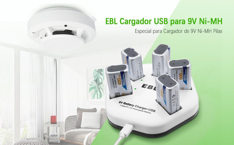 EBL Cargador de 9V Batería Recargable para 1-5 Unidades 9V Pilas Recargables de Litio Individualmente, Entrada USB (DC:5V/2A) con 5 Unidades 600mAh 9V ...