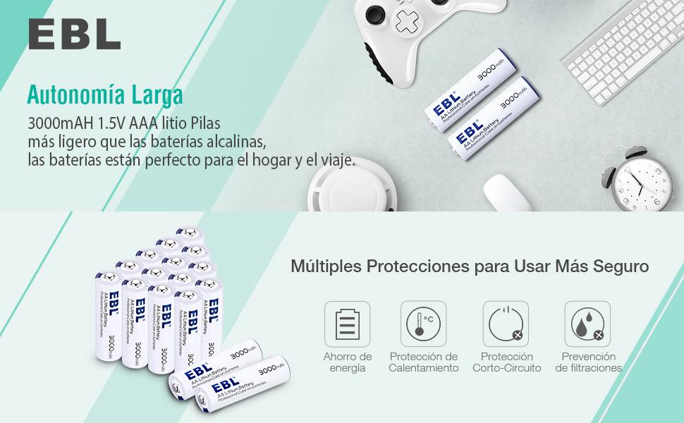 EBL 1.5V 3000mAh AA Litio Baterías Alto Rendimiento Metal de litio Pila para los Equipos Domésticos - 16 Unidades(NO ES RECARGABLE)