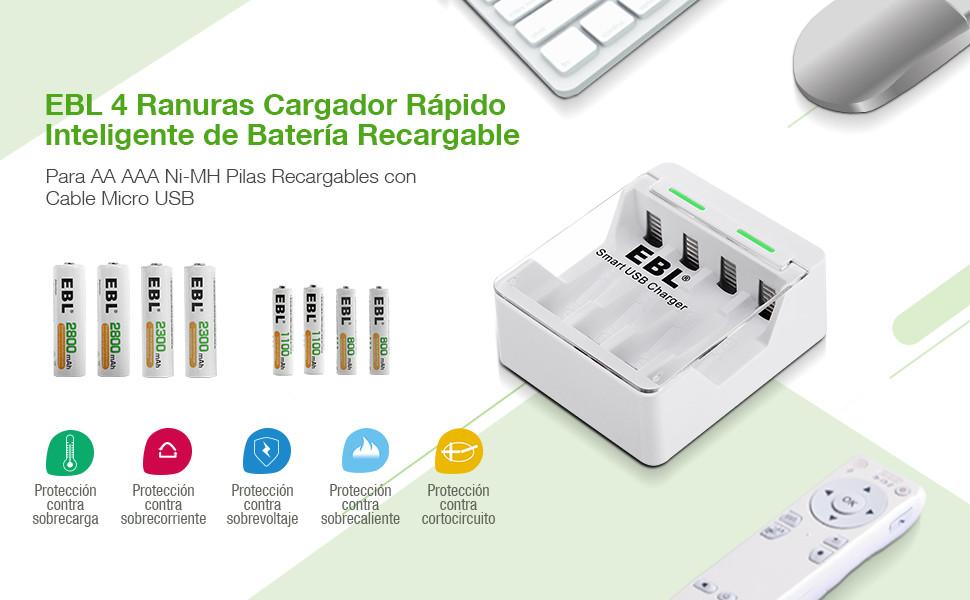EBL iQuick USB Cargador de Pila para AA AAA Ni-MH Ni-CD Pilas Recargables con Indicador LED