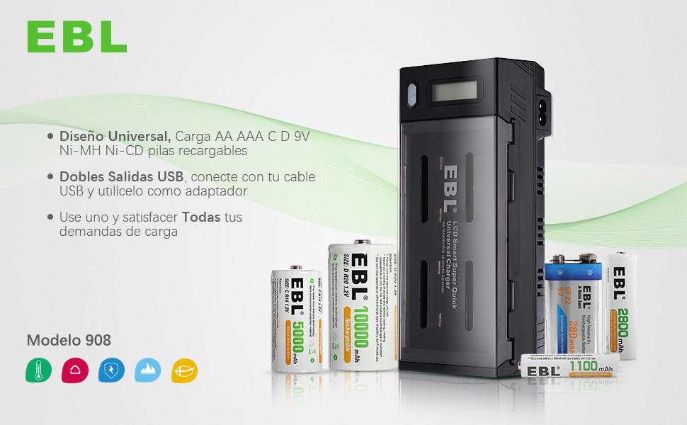 EBL 908 Cargador de Pilas para Cargar 1-4 Pilas de AA AAA CD y 1-2 Pilas Recargables de 9V Ni-MH Ni-CD con 2 Puertos de USB, Pantalla LCD y Función de ...