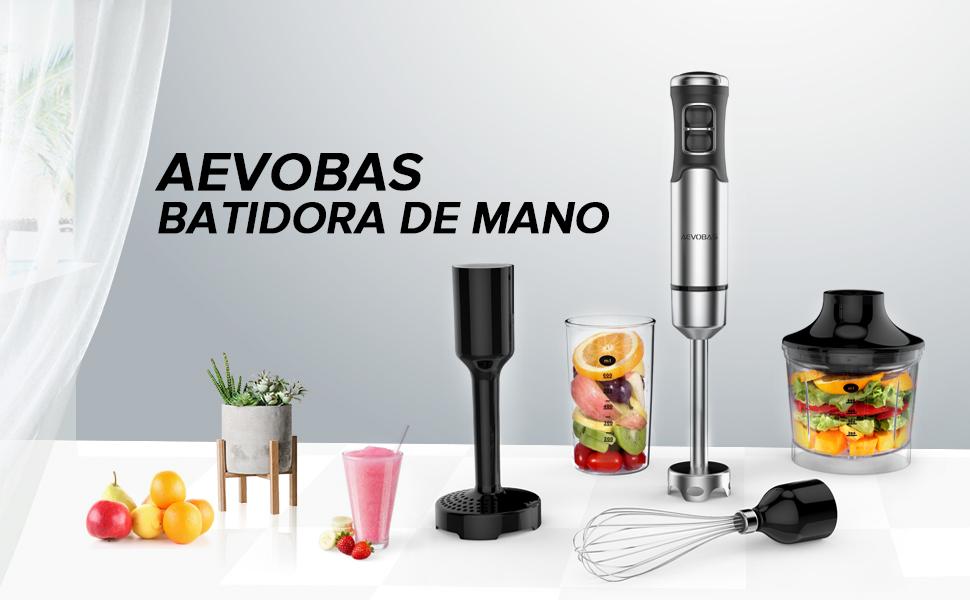 AEVOBAS Batidora de Mano,1000W de Velocidad Continua, Picadora 5 en 1 con 4 Accesorios para Montar, Batidor de Huevos, con función de emulsionador ...