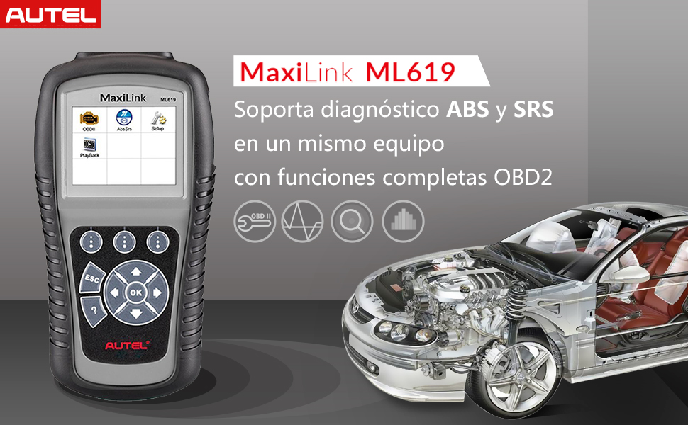 Autel MaxiLink ML619 Herramienta Diagnosis Multimarca y Lector de ...