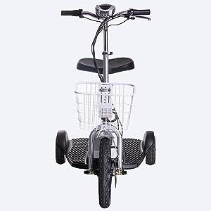 VELECO Scooter eléctrico Scooter Scooter 3 Wheeler Trike Cesto Adulto Asiento 35 km/h (Plateado)