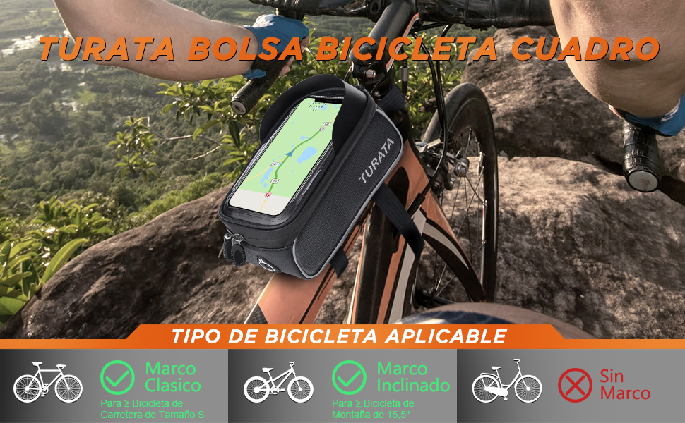 Bolsas de Bicicleta, TURATA Bolsa Impermeable para Bicicleta, Bolsa Táctil de Tubo Superior Delantero con Orificio para Auriculares para iPhone Samsung Teléfono Inteligente por Debajo de 6,5 Pulgadas: Amazon.es: Deportes y aire