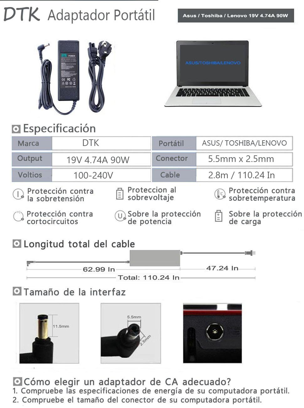 DTK Unidad de alimentación para portátil ASUS / TOSHIBA high quality Output: 19V 4.74A 90W (75W, 65W Compatible) Cargador y adaptador