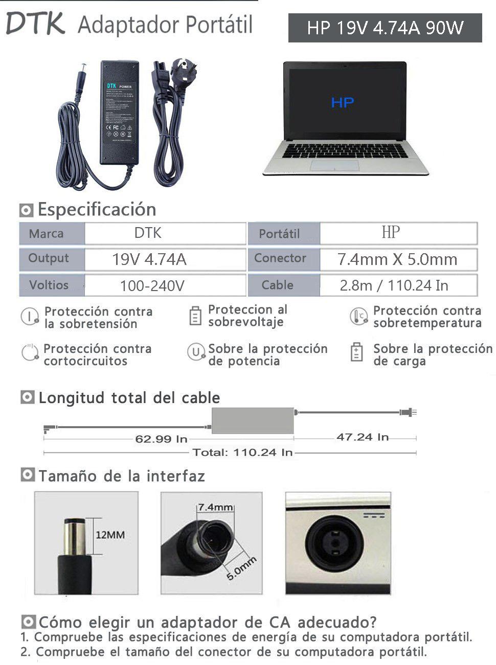 Dtk HP 19v 4.74a 90w ordenador portátil de alimentación de AC Adaptador de cargador Para HP Compaq Presario CQ60 CQ61 Cargador y adaptador Conector