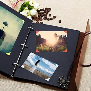 Álbum de fotos hecho a mano, estilo retro, para fotos