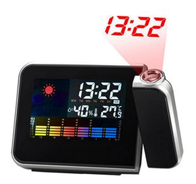 Distancia de proyección del reloj 1-5m. El despertador admite el modo de repetición. Dos modos de tiempo disponibles: 12 horas ...