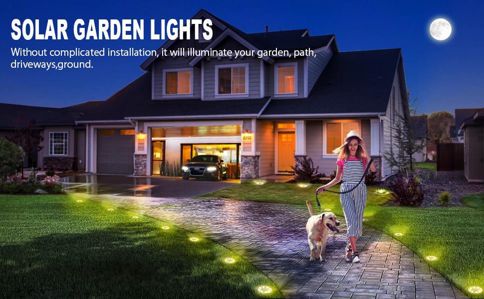 4Pcs Luces Solares para Exterior Jardin 8 leds 100LM Luz Cálida IP65 Focos led Exterior Solar Acero Inoxidable Luce de Tierra Lámpara Suelo Iluminación para Yard Paisaje Driveway Lawn Pathwa Camino: Amazon.es: