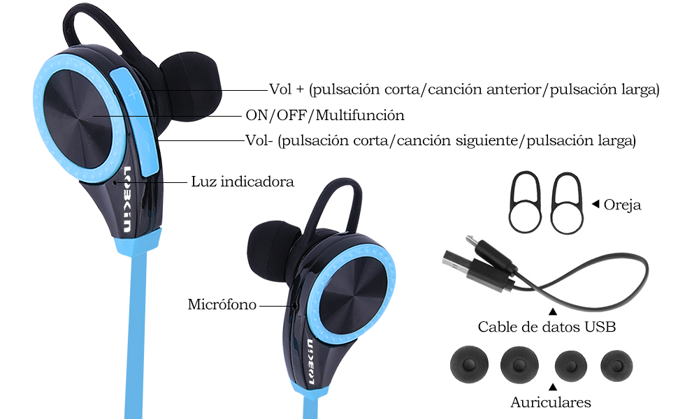 LOBKIN Bluetooth 4.0 Auriculares Deportivos Estereo Ideales para Gimnasio y Haver Ejercicio, con Manos Libres Integrado, compatibles con Todos los