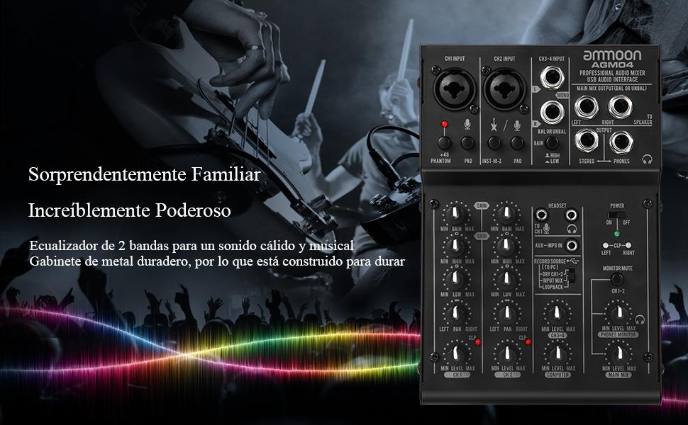 ammoon Mini Consola de Mezcla 4 Canales Mezclador de Audio Digital ...
