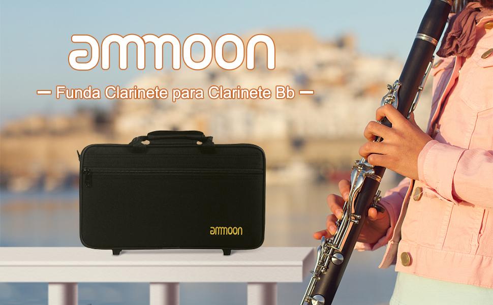 ammoon 600D Resistente al Agua Funda Caja de Tela Oxford para Clarinete Ajustable con una Correa de Hombro del Bolsillo Espuma de Algodón Acolchado