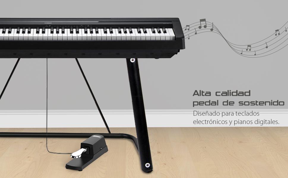 ammoon Teclado de Piano Sustain Pedal para Casio Yamaha Roland Piano Electrico Órgano Electrónico