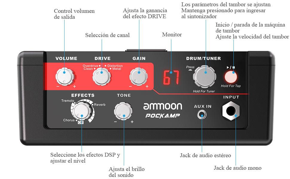 ammoon Amplificador de Guitarra Portátil POCKAMP Amplificador de 5 Vatios Multiefectos Incorporados 80 Ritmos de Batería Compatibilidad con el ...