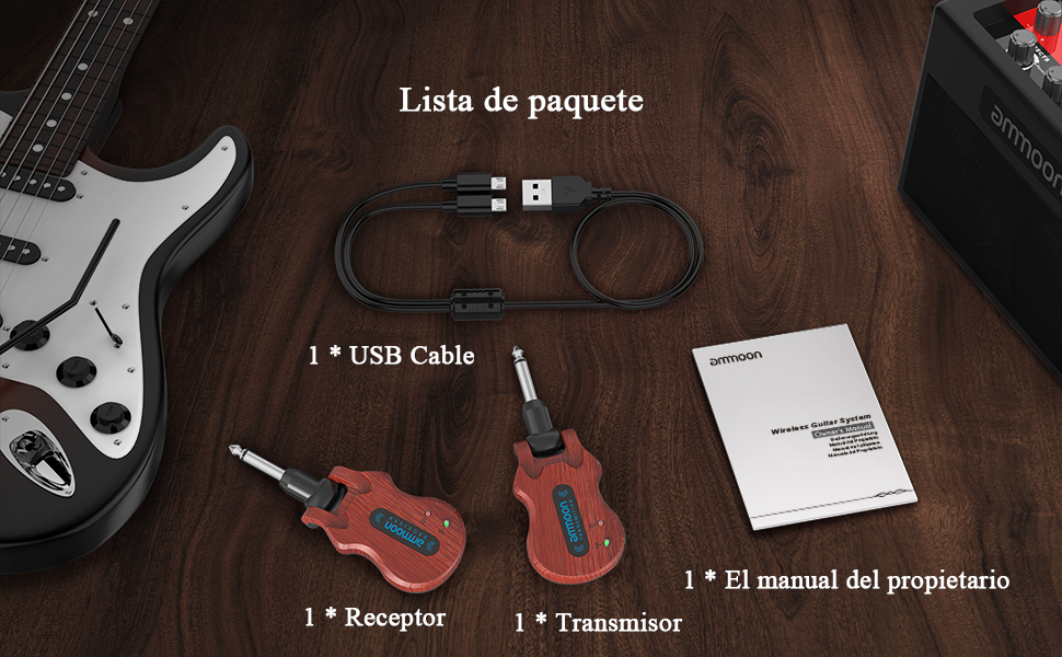 ammoon Receptor Transmisor de Guitarra Sistema de Guitarra ...