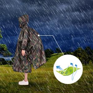TOMSHOO Poncho de Lluvia Reusable de Ripstop Impermeable y Multifuncional como Toldo, Tienda de Campaña, Estera de Camping, Cubierta de Dosel, para ...