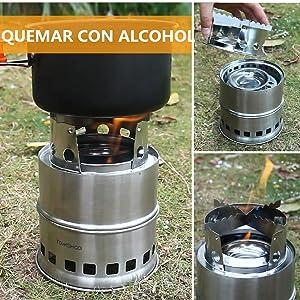 TOMSHOO Estufa de Leña Camping Hornillo Alcohol Portátil para ...