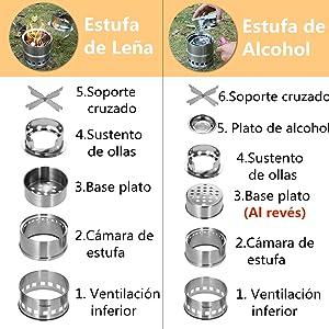 TOMSHOO Estufa de Leña Camping, Hornillo Alcohol Portátil para Madera o Alcohol Camping Senderismo BBQ Picnic