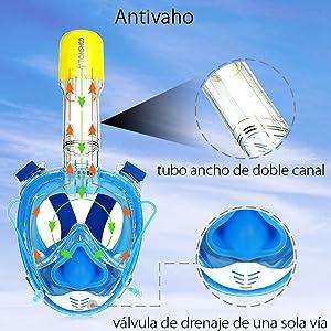 TOMSHOO Máscara de Snorkel 180 ° Panorámico de Cara Completa Anti ...