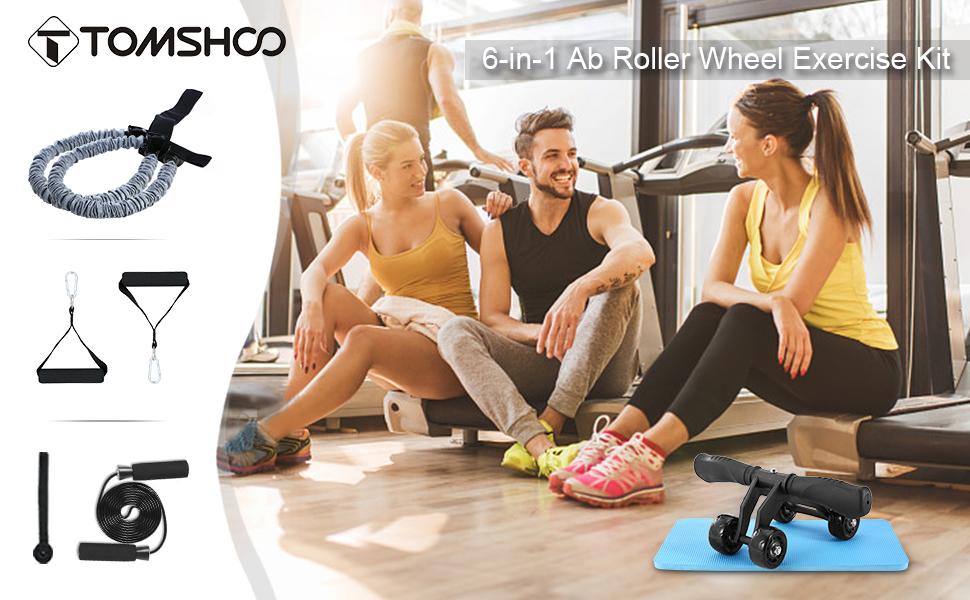 TOMSHOO 5-en-1 AB Roller Kit de Ejercicio con 4 Ruedas+Bandas ...