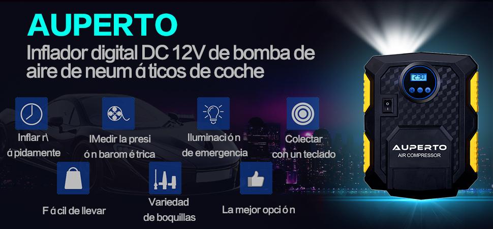 Compresor Portátil, AUPERTO 150 PSI / 10.5 Bar DC 12V Mini Bomba Inflador Con LED La Boquilla 3 Adaptadores, El Cable Quemador 3m Para Inflables ...