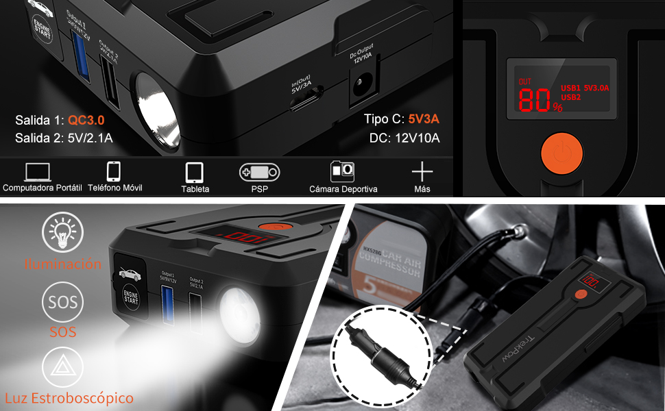 TrekPow Arrancador de Baterías de Coche G39, 1200A Arrancador de Coche 12V con Medidor LED, Puerto USB QC 3.0 y Tipo C, Pinzas Inteligentes con ...