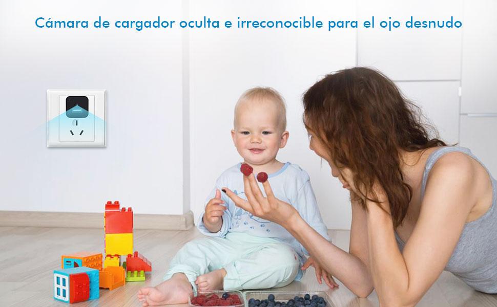 cámara oculta cámara cargador niñera para la seguridad del hogar