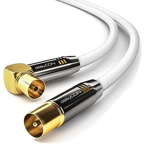 deleyCON 7,5m Cable de Antena TV HDTV Full HD - 1x en Ángulo Cable Coaxial Enchufe de TV (Recto) para Toma de TV (90° Grados) Tapón de Metal - Blanco