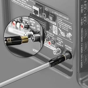 deleyCON 3,0m TV Cable de la Antena Coaxial Cable de TV 100dB 4K Ultra HD UHD HDTV Full HD - Enchufe de TV a Toma de TV - Conector Metálico - ...