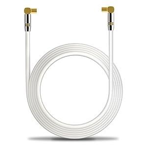 deleyCON 20m TV Cable de Antena HDTV Full HD 2X en Ángulo Cable Coaxial - Enchufe de TV (90° Grados) para Toma de TV (90° Grados) Tapón de Metal - ...