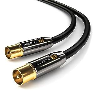 deleyCON 5m TV Cable de la Antena Coaxial Cable de TV 100dB 4K Ultra HD UHD HDTV Full HD: Amazon.es: Electrónica