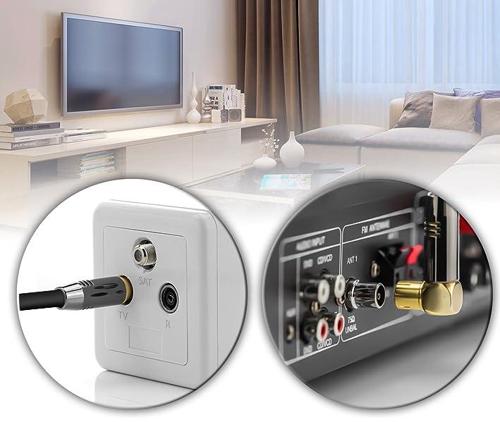 deleyCON 1m Cable de Antena de TV Cable Coaxial 1x Enchufe de TV 90° en Ángulo para Toma de TV Recta - TV HDTV Radio DVB-T2 Full HD Tapón de Metal - ...
