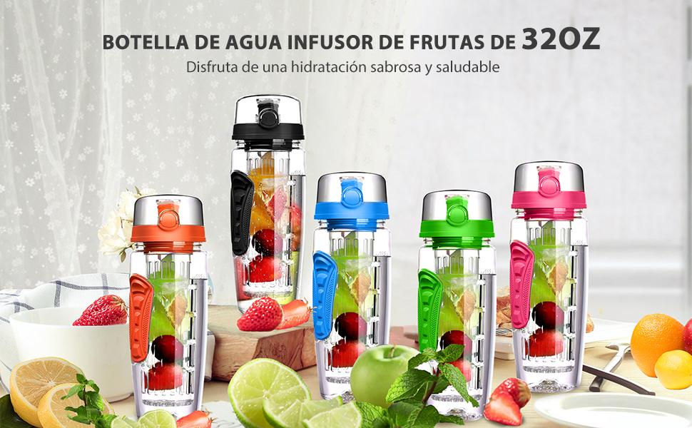 OMORC Botella Agua Deportiva, 1L Botella de Agua con Filtro ...
