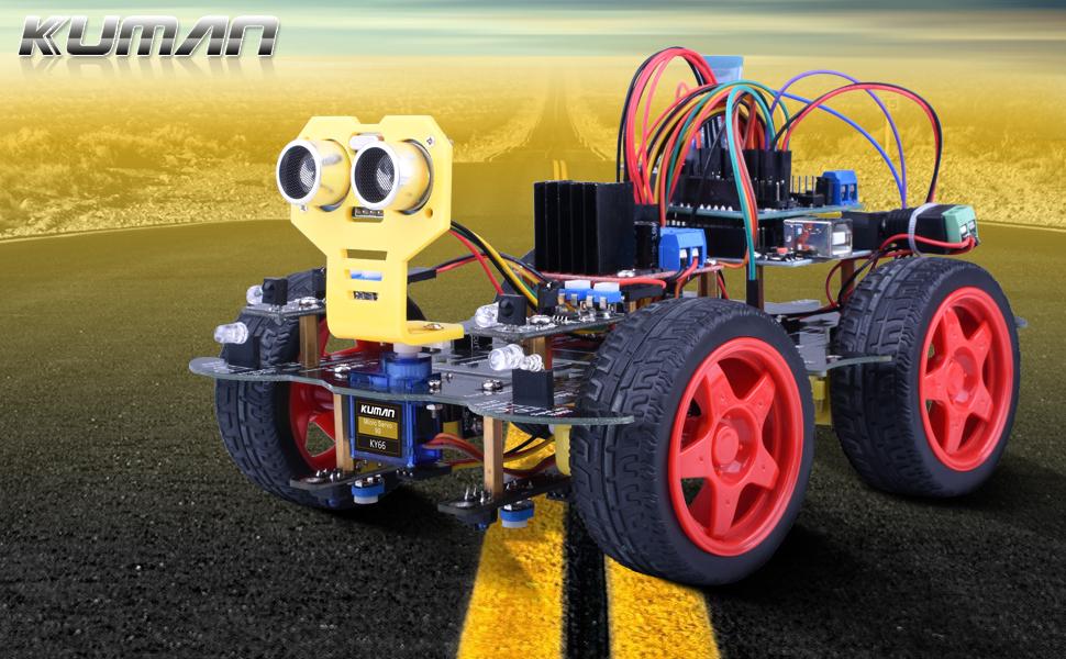 Este robot de cuatro volantes Kuman es un robot educativo de código abierto basado en el controller principal Arduino UNO. Con características como control ...