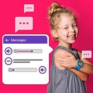 Mensajes, Mensajes de voz, Chat, SMS, SoyMomo, teléfono niños, GPS niños, Smartwatch niños
