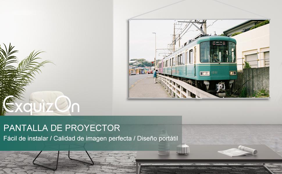 """ExquizOn Pantalla para Proyector Colgante 100"""", 160° Ángulo de ..."""