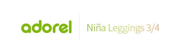 El logo de Adorel en verde y niña leggings 3/4 en degradado.