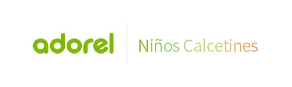 El logo de Adorel en verde y niños calcetines en degradado.