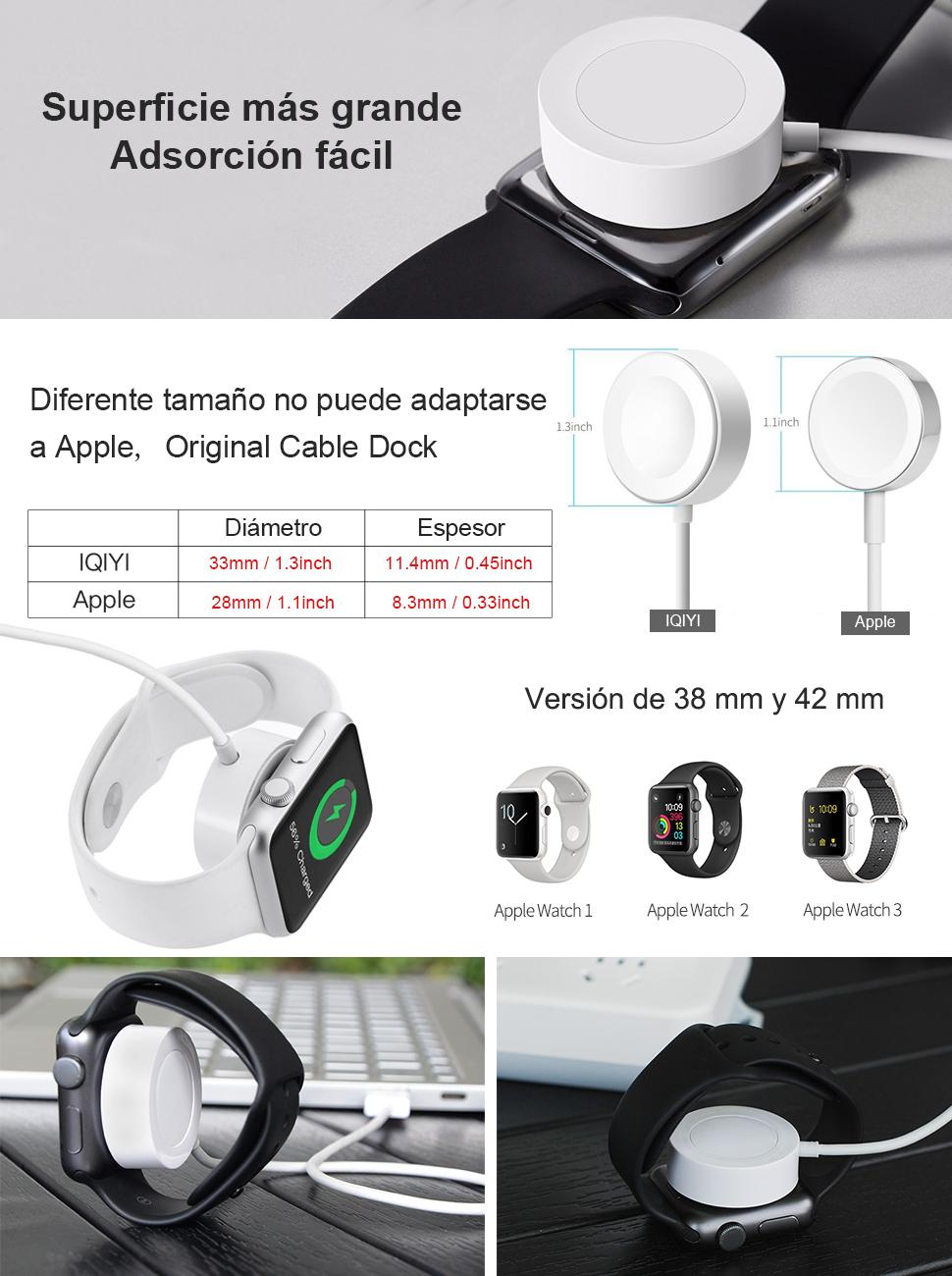 Cargador para Apple Watch [Certificado por Apple] IQIYI 0.3M Cargador Magnética para iWatch Cargador Magnética para el Apple Watch ...