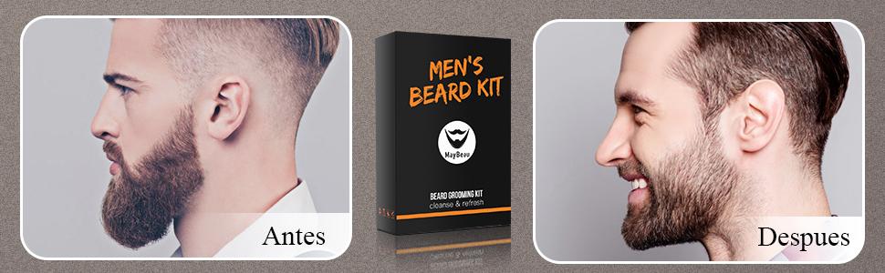 Kit Cuidado de Barba,MayBeau Bálsamo Barba,Barba Champú, Peine para Barba,Tijeras Barba Juego de regalo perfecto para hombres (8 en 1): Amazon.es: Salud y cuidado personal