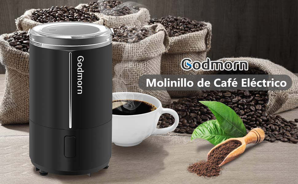 Godmorn Molinillo de Café Eléctrico, Molinillo Compacto de Café, Especias, Semillas o Granos. Operación con un Solo Botón, Tapa Transparente Que, ...