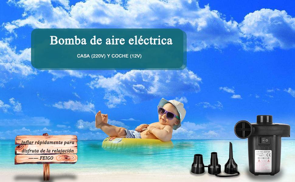 FEIGO Bomba de Aire Electrica, 3 Boquillas Inflador Eléctrico ...