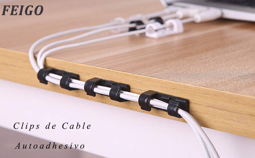 FEIGO Clips de Cable Autoadhesivo Multiusos Sujeta de Abrazaderas ...