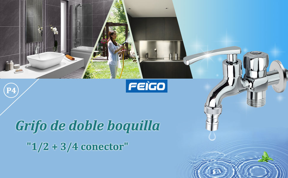 FEIGO Válvula de Bola jardín Grifo Grifo Exterior 1/2 Pulgadas ...