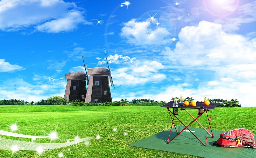 OUTRY ligera mesa plegable es ideal para interiores así como actividades al aire libre tales como camping, trekking, playa, picnics, fiestas y viajes.